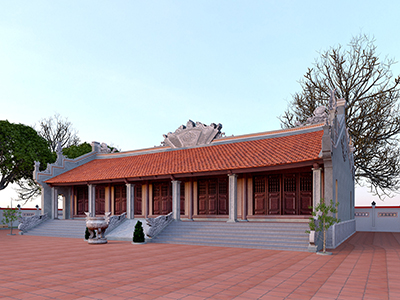 thiết kế nhà thờ họ 5 gian
