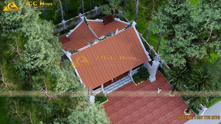 Thiết kế mái ngói nhà thờ họ 90m2